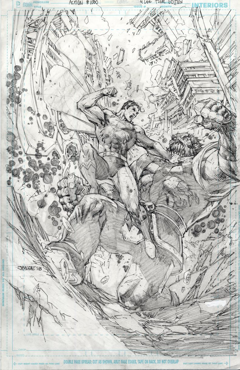 The superman super site jim lee reveals pencil sketch of action comics 1000 variant cover