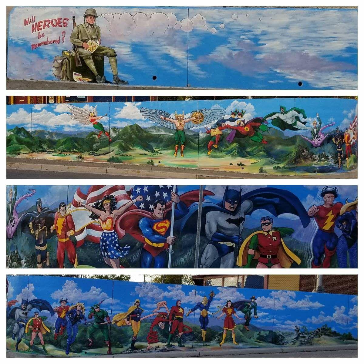 maryville tn superhero mural - Mural de superhéroes de la Edad de Oro adorna una pared en Maryville